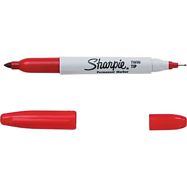 Sharpie® Twin Tip Permanent Marker, Fine-Point and Ultra-Fine Point, Red, (32002)