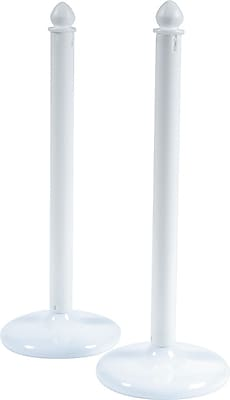 Tatco Indoor/Outdoor Plastic Stanchions for Crowd Control, White, 39