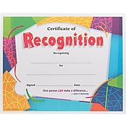 """Trend Enterprises© Certificate of Recognition Award, Assorted Colors, 8 1/2""""H x 11""""W, 30/Pk"""