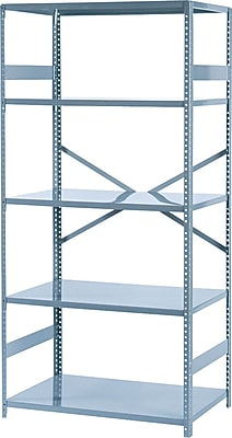 Tennsco Commercial Steel Shelving, 5 Shelves, Gray, 75