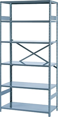 Tennsco Commercial Steel Shelving, 6 Shelves, Gray, 75