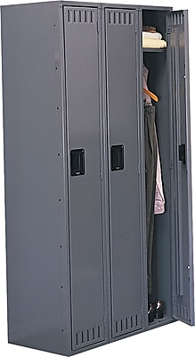 Tennsco Heavy Gauge Steel Single Tier Lockers, 3 Wide, Medium Grey (STS121872CMG)