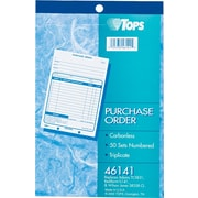 Tops Carbonless Purchase Order Books, 3 Parts, 5 1/2x7 7/8 inch , 50 Sets/Book by