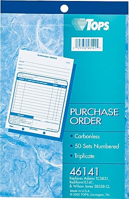 Tops® Carbonless Purchase Order Books, 3 Parts, 5-1/2x7-7/8