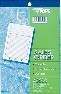 Tops® Carbonless Sales Order Books, 5-1/2