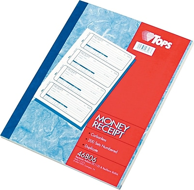 """""""""""TOPS Money/Rent Receipt Book, Ruled, 2-Part, White/Canary, 11"""""""""""""""" x 7 5/8"""""""""""""""", 1/Ea"""""""""""" 377690"""
