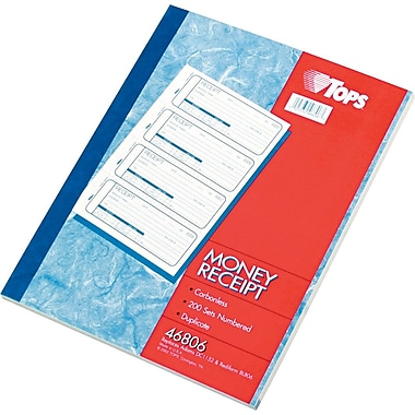TOPS® Money/Rent Receipt Book, Ruled, 2-Part, White/Canary, 11