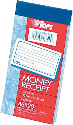 """""""""""TOPS Money/Rent Receipt Book-Multiple Parts, Ruled, 2-Part, White/Canary, 5 3/8"""""""""""""""" x 2 3/4"""""""""""""""", 1/Ea"""""""""""" 745091"""