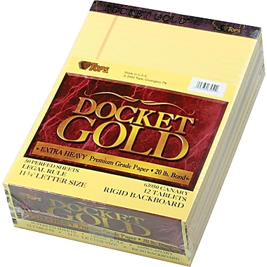 Docket® Gold Notepads, Legal Rule, White, 12-Pack