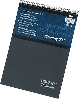 Docket® Diamond, Premium Stationery Wirebound Tablet, White, 60 Sheets/Pad, 8-1/2
