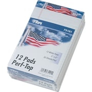 """TOPS® American Pride Writing Tablet Notepad, US Flag Headtape, 5"""" x 8"""", Junior Legal Rule, White, 50 Sheets/Pad, 12 Pads/Pack"""