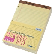 "TOPS® The Legal Pad Notepad, 8-1/2"" x 11-3/4"", Legal Rule, Canary, Perforated, 3-Hole Punched, 50 Sheets/Pad, 12 Pads/Pack"