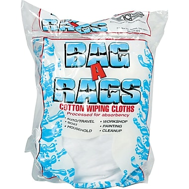 Bag-A-Rags Reusable Cotton Wiping Cloths, Randomly-Sized Cloths, 1 lb. Bag