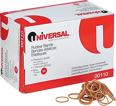 """""Universal Boxed Rubber Bands, Size 10, 1 1/4"""""""" x 1/16"""""""", 1 lb. Box"""""" 388694"