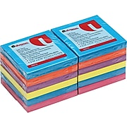 "Universal Standard Self-Stick Ultra Assorted Colors, 3"" x 3"", 12 100-Sheet Pads/Pack"