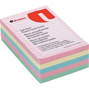 """Universal Standard Self-Stick Notes, Ruled, Assorted Pastel Colors, 4"""" x 6"""", 5 100-Sheet Pads/Pack"""