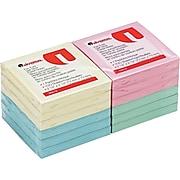 "Universal Self-Stick Fan-Folded Note Pads, Assorted Pastel Colors, 3"" x 3"", 12 100-Sheet Pads/Pk"