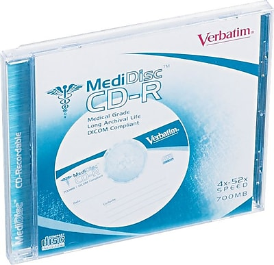 Verbatim Write-Once CD, Scuff-Resistant, 52X Speed, 700MB, 80 Minute, 1/Pk