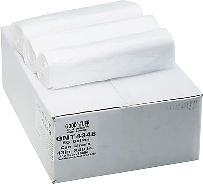 Webster Industries® Good'nTuff® Economy High Density Can Liners, 56 Gallons, 14 Microns, Natural, 43