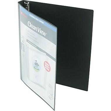 Wilson Jones® Print-Won't-Stick Flexible Poly Round Ring View Binder, Black, 100-Sheet Capacity, 5/8