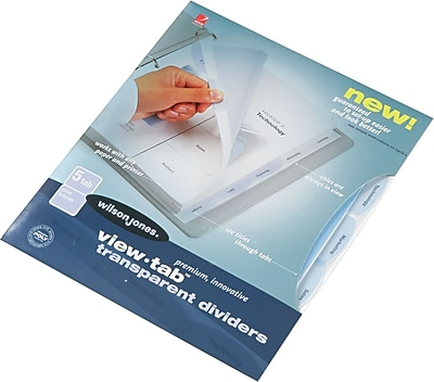 W55066 Letter Size Wilson Jones View-Tab Transparent Dividers Clear 5 Square Tabs