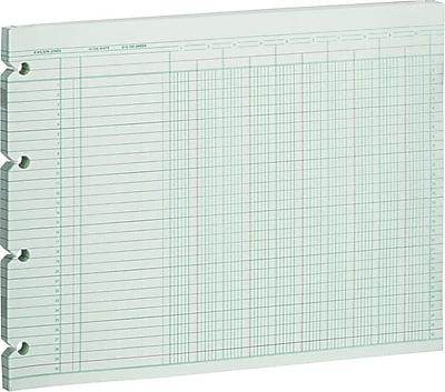 7-1//2 x 10-3//8 Pack of 100 Wilson Jones GN1-D Green Ledger Sheets