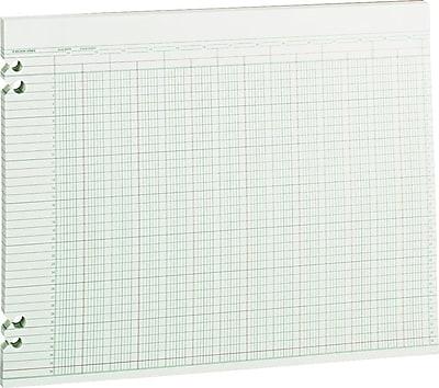 Wilson Jones Columnar Sheets, Ledger Paper, Ruled, 36 Lines, 24 Columns, Green Paper, 11