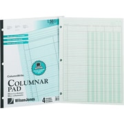 "Wilson Jones® Column Write® Side Bound Columnar Pad, Green, Ruled, 8 1/2"" x 11"", 50 Sheets"