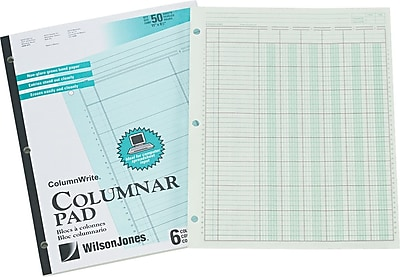 Acco Side-Punched 11 x 8-1/2 Columnar Pad, 6 Units/6 Columns, Ruled Both Sides Alike