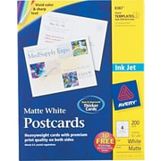 "Avery® Inkjet Postcards, Matte Finish, 5 1/2"" x 4 1/4"" 200/Pack (8387)"