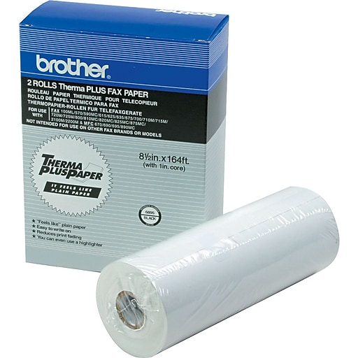 """Brother® ThermaPlus Thermal Fax Paper For Intelifax 700/800M and Instafax 2100/2200M, White, 164'L x 8 1/2""""W, 2/Bx"""