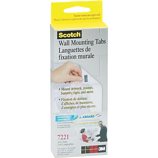 Scotch 174 Wall Mounting Tabs 1 2 Quot X 3 4 Quot 144 Tabs Box