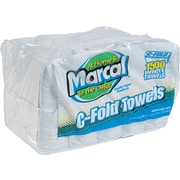 Marcal White Embossed Paper Towels, C-Fold, 10 x 12-1/4, 150 Towels/Pack, 10 Packs/Ctn
