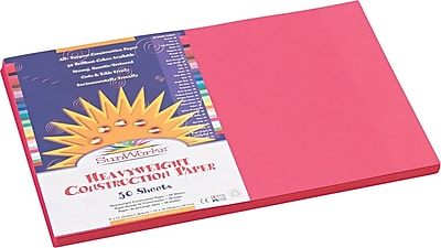 Pacon SunWorks® Construction Paper, 58 lbs., Scarlet, 12