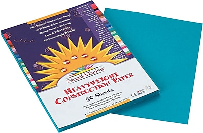 Pacon SunWorks® Construction Paper, 58 lbs, Turquoise, 9