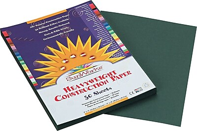 Pacon SunWorks® Construction Paper, 58 lbs., Dark Green, 9