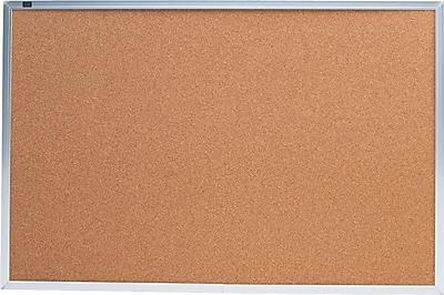 Quartet® Cork Bulletin Board, 3' x 2', Silver Aluminum Frame