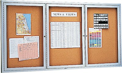 Quartet® Enclosed Cork Bulletin Board for Indoor Use, 6' x 3', 3 Hinged Doors