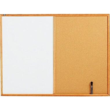 Quartet® Melamine Dry-Erase and Cork Board Combination with Oak Finish Frames