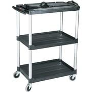 "Rubbermaid Media Master™ 42"" Three-Shelf Audio-Visual Open Electronic Media Cart, Black/Silver"