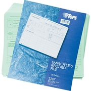 "TOPS® Employees Personnel File, Ruled, Green, 11 3/4"" x 9 1/2"", 20 Pk"