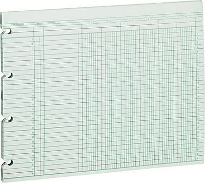 Wilson Jones Columnar Sheets, Ledger Paper, Ruled, 30 Lines, 6 Columns, Green Paper, 9 1/4