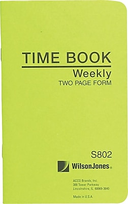 Wilson Jones Foreman's Time Book Green (S802) 388309