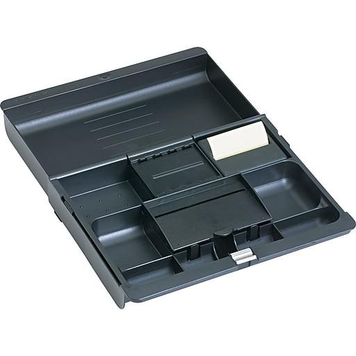 3m black plastic adjustable desk drawer organizer staples. Black Bedroom Furniture Sets. Home Design Ideas