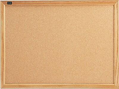 Quartet® Cork Bulletin Board, Oak Finish Frame, 2'W x 1.5'H