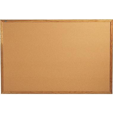 Quartet® 6' x 4' Cork Bulletin Board with Oak Finish Frame