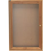 Quartet® 3' x 2' Enclosed Cork Bulletin Boards with Oak Finish Frame