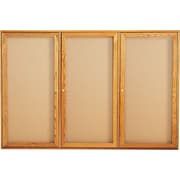 Quartet® 6' x 4' Enclosed Cork Bulletin Boards with Oak Finish Frame