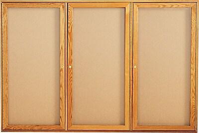 Quartet® Oak Frame Corkboards, 3-Door