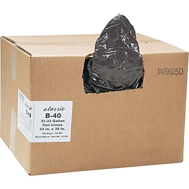 Webster Classic 2-Ply Trash Bags, Medium Strength, .7 mil, 31-33 Gallon Bags, 250/Carton